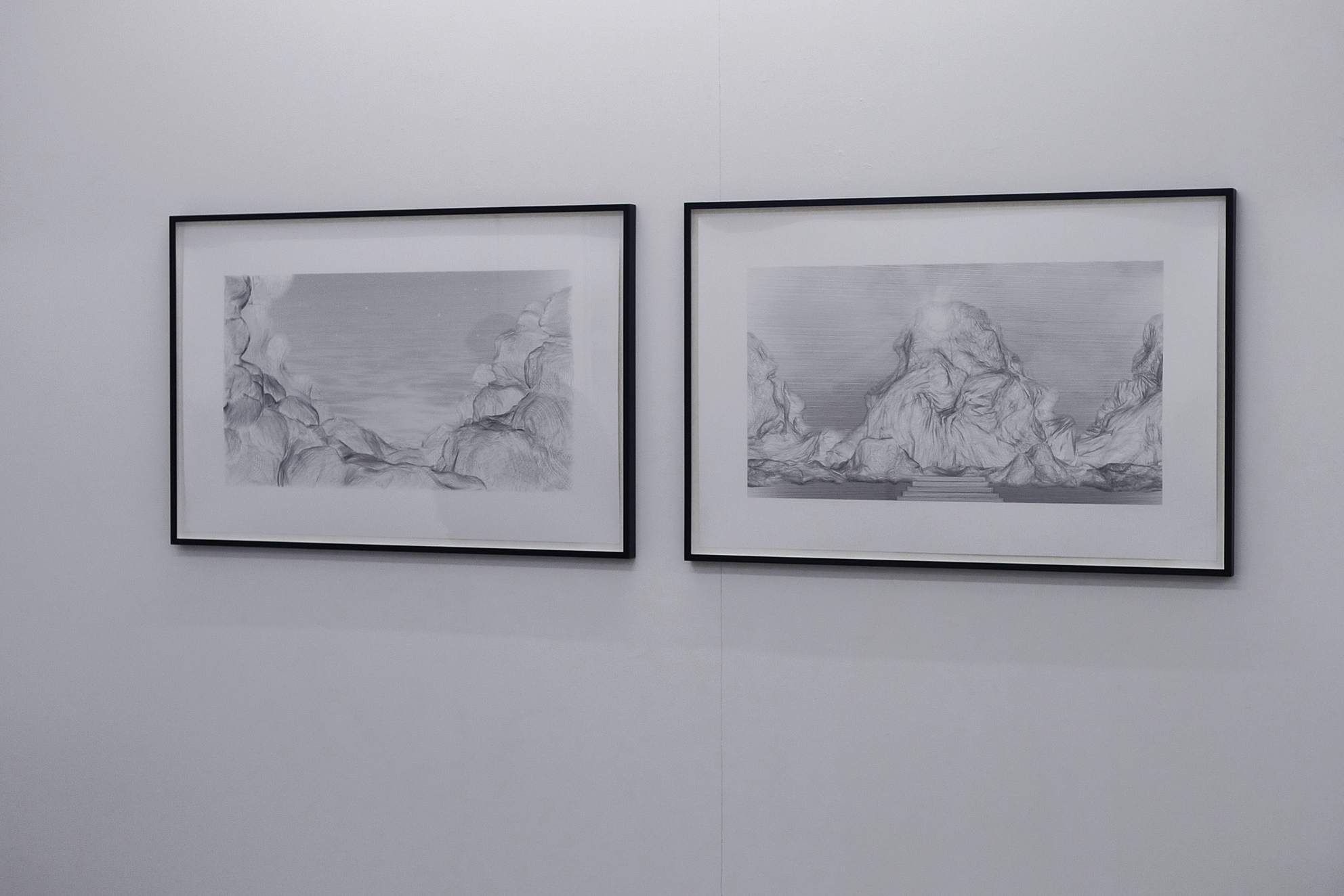 Pictures, series of 5 digital 'drawings', inkjet print / black wooden frame and glass, 80 x 120 x 4 cm, in collaboration with Swann Thommen