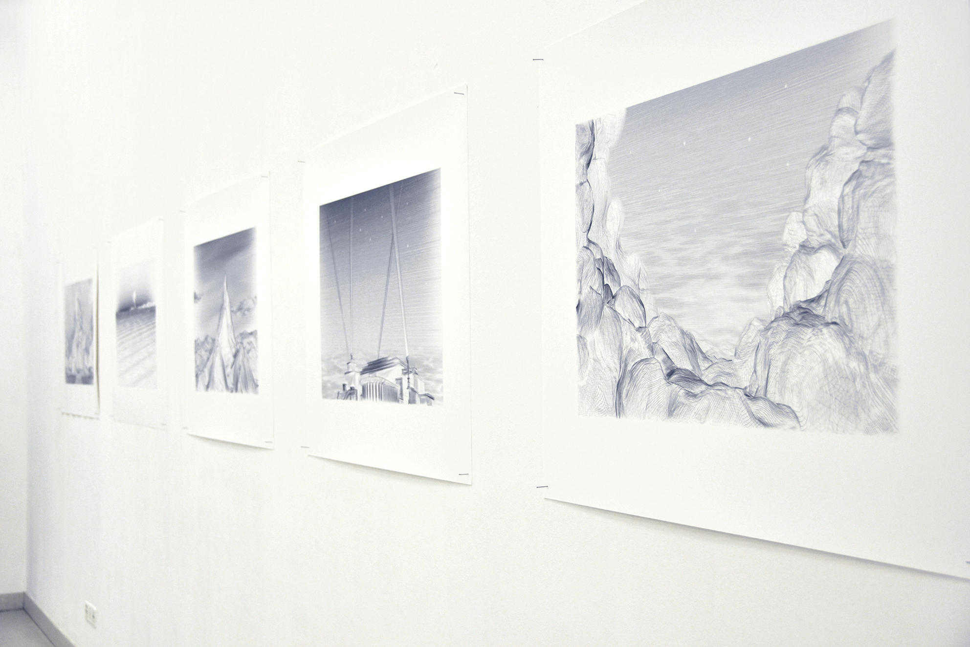 Series of 5 digital 'drawings', inkjet print / black wooden frame and glass, 80 x 120 x 4 cm, 2009, in collaboration with Swann Thommen