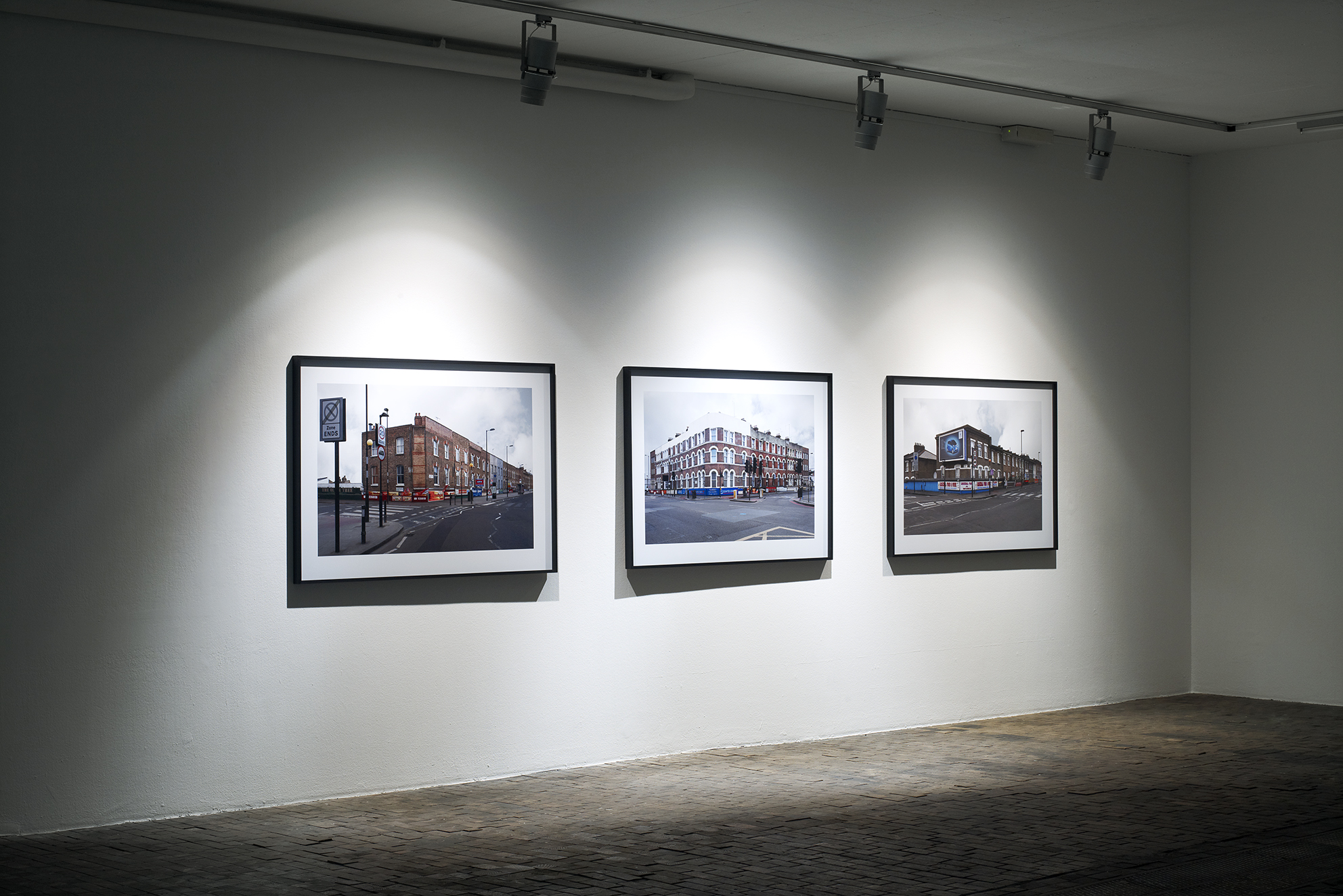Finsbury, Blackstock Road, London, series of 3 photographs, inkjet print / black wooden frame and glass, 104 x 150 x 4 cm, 2011, © David Gagnebin-de bons