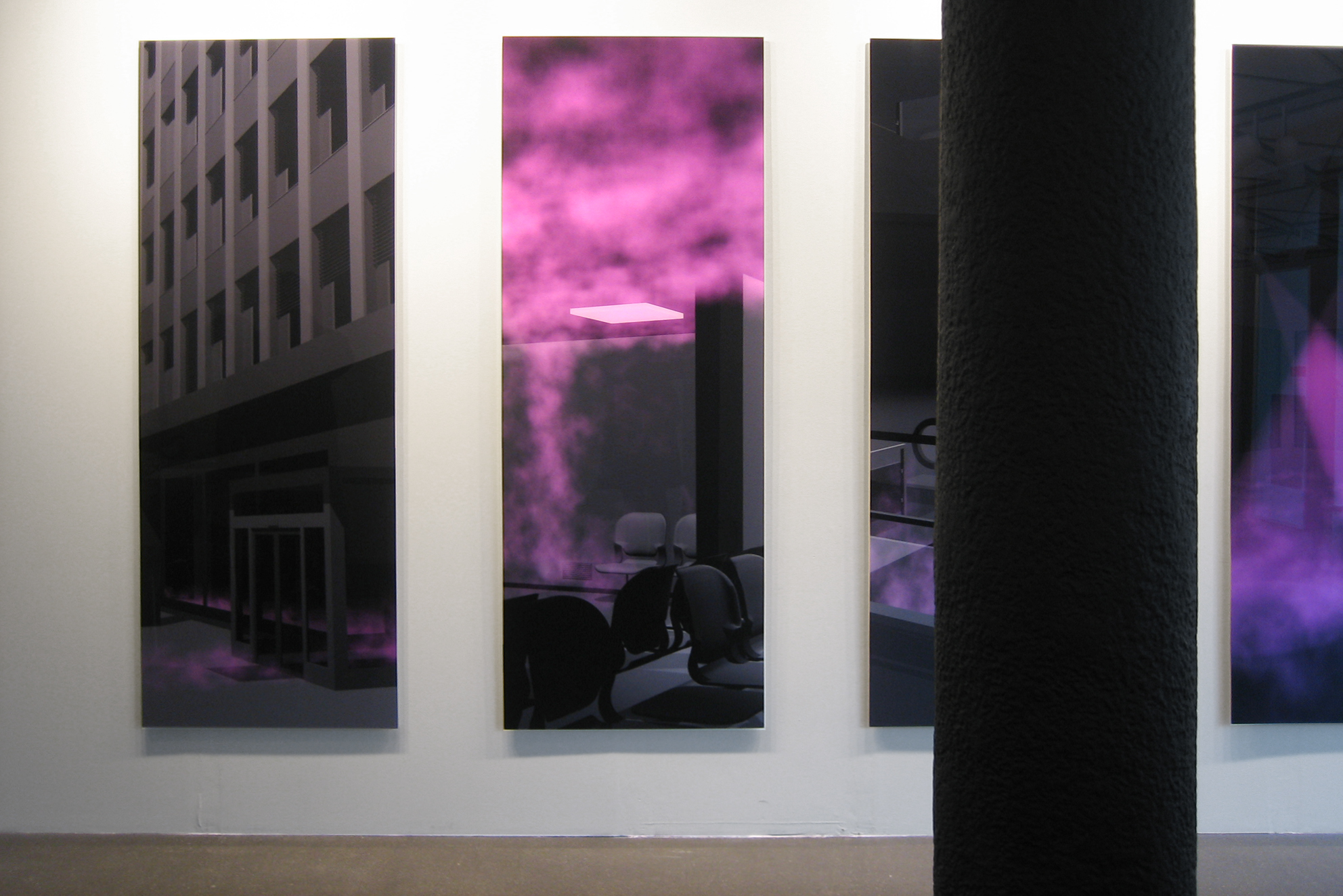 No comment, series of 5 photographs, lambda print / 2 Plexiglas slab 200 x 75 x 1 cm, 2006, in collaboration with Swann Thommen